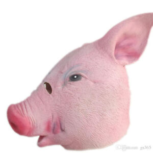 HALLOWEEN - LATEX/RUBBER OVER THE HEAD 'PIG' MASK - NEW!