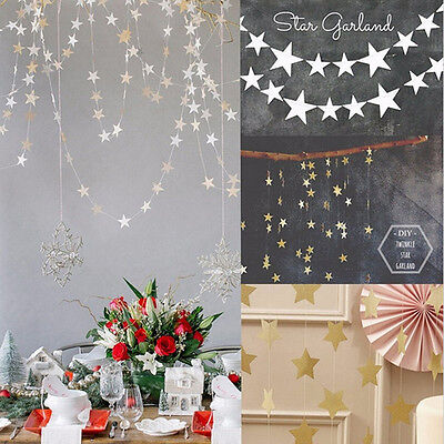 Star Garland Decoration (4M Paper Star Garland Hanging Bunting Home Wedding Party Decoration Craft)
