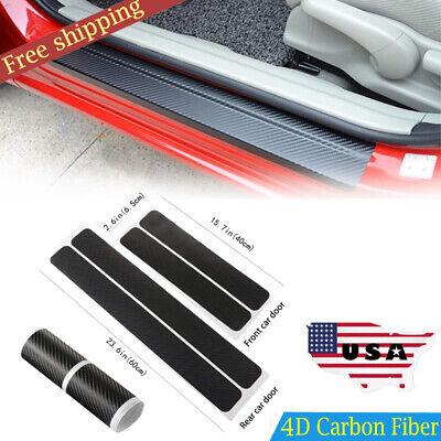 4D Carbon Fiber Door Sill Scuff Protector Stickers & Tool NEW Car Accessories 4X