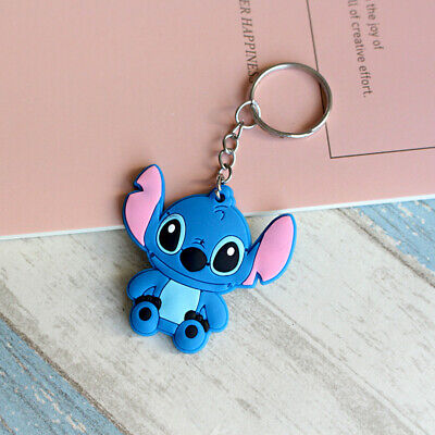 New Cute Blue Stitch Key Chain Keyring Ring Soft PVC Keychain Keyfob Pendant