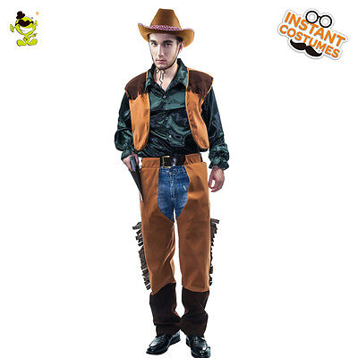 Adult Men's Cowboy Wild Western  Costume Outfit Fancy Dress For  Party Cosplay - Cowboy Costume For Adults