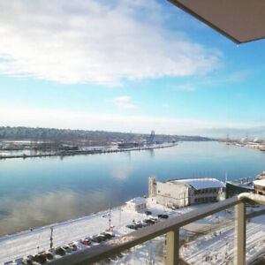 WATERFRONT New West, furnished! 5 mins walk to Skytrain/shops