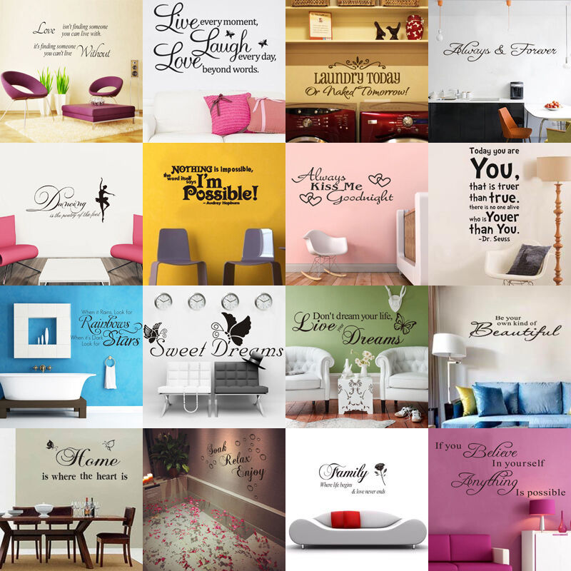 Home Decoration - HOT SALE! DIY Removable Art Vinyl Quote Wall Sticker Decal Mural Home Room Decor