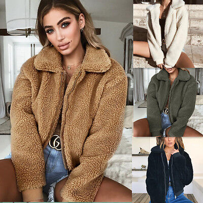 Womens Ladies Teddy Bear Oversized Coat Ladies Borg Zip Faux Fur Jacket On Sale - Fur Oversized Coat