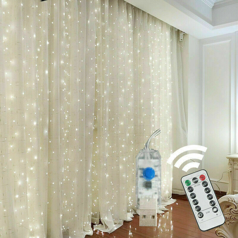 300 LED Curtain Fairy Lights USB String Light With Remote Xmas Party Wedding US Home & Garden