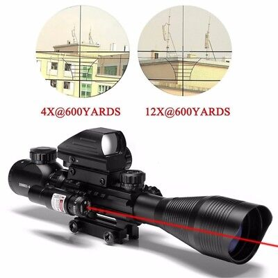 4-12X50 EG Red Green Rangefinder Riflescope w/Holographic Dot Sight for Hunting
