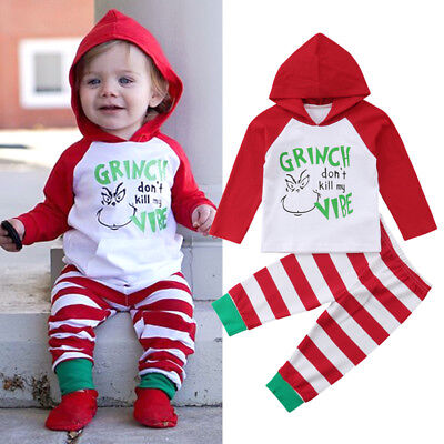 US Cute Newborn Baby Girl Boy Xmas Hooded Tops Stripe Long Pants Outfits Clothes