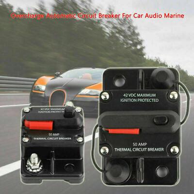 50 Amp Automatic Reset Fuse Overcurrent Circuit Breaker For Car Audio Marine Av