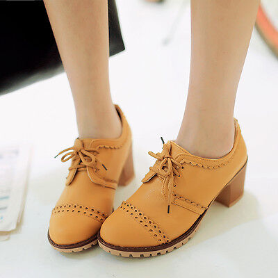 (Retro Womens Lace Up Block Heels Pumps Oxford Shoes Brogues Court Chunky Shoes)