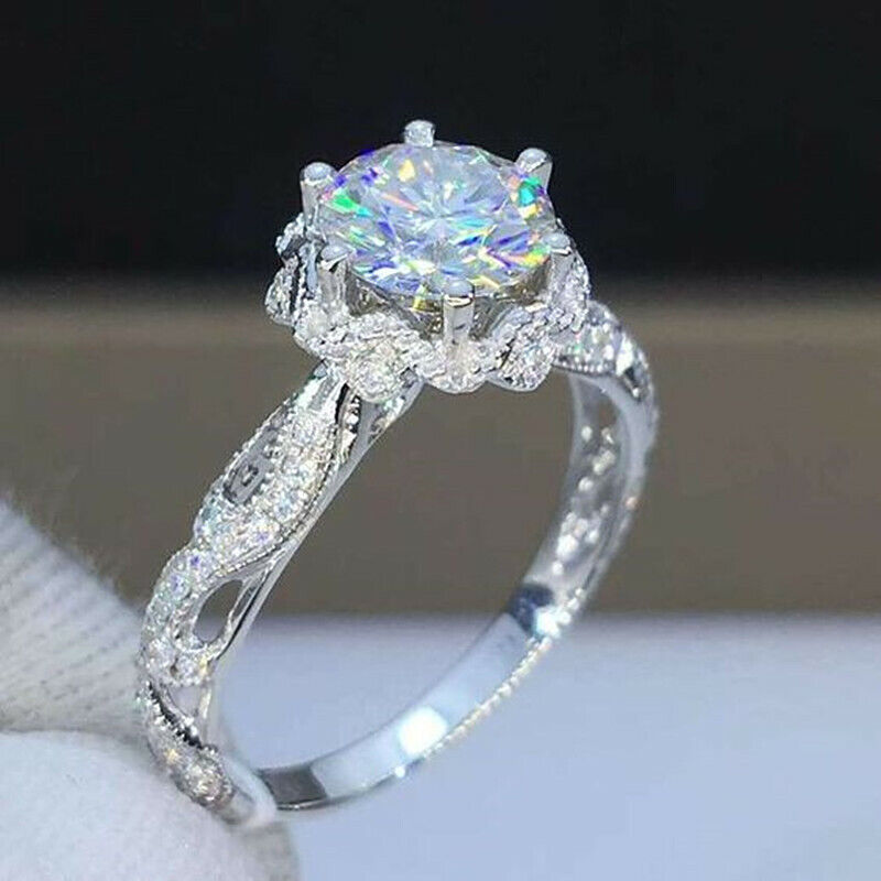 Gorgeous Women Jewelry 925 Silver Rings White Sapphire Wedding Jewelry Size 6-10