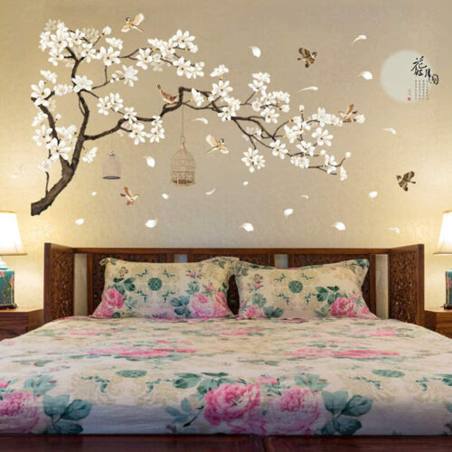 Home Decoration - Tree Flower Wall Stickers 3D Vinyl Decals Art Home Room Kids Decoration Decor *L