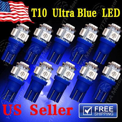 10 X Ultra Blue T10 5 Smd 5050 Led Interior Light Bulbs W5w 2825 158 192 194 168
