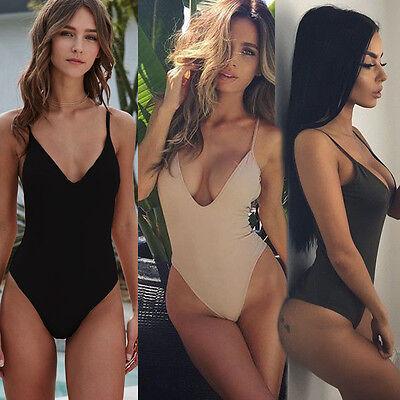 US Women Deep V Neck Black Stretch Bodycon Bandage Bodysuit Romper -