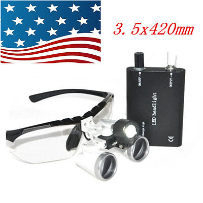 Quality Dental Surgical Medical Binocular Loupes 3.5x420mm Led Head Light Lamp