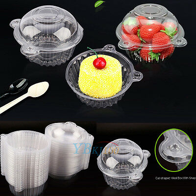 Hot 100x Clear Plastic Single Cupcake Cake Case Muffin Dome Holder Box Container - Single Cupcake Boxes