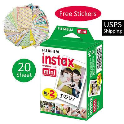 20 PCS Fujifilm Fuji Instax Mini Plain White Film For Instant 7s 8 25 50s 70 90