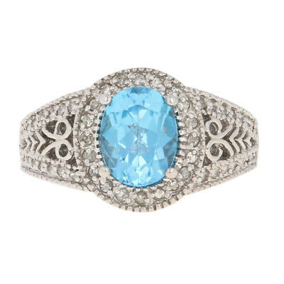 Blue Topaz Milgrain Ring - 3.00ctw Oval Blue Topaz & Diamond Halo Ring - 14k White Gold Milgrain