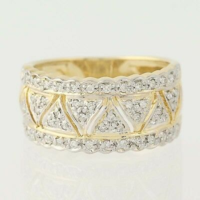 Contemporary Diamond Band Ring - 14k Yellow Gold Size 6 3/4 Women's .25ctw
