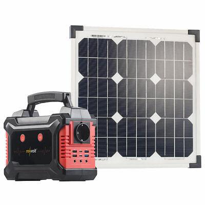 revolt Solar-Generator & Powerbank mit mobilem 20-Watt-Solarpanel, 60 Ah Solar Power Generator