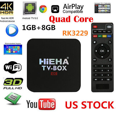 4K Android 6.0 Smart TV BOX Latest 17.1 Quad Core 8GB HD 1080P WIFI Media Player