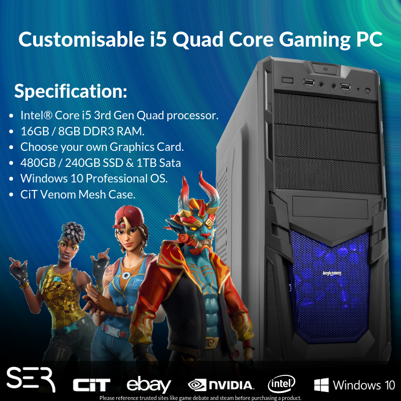 Computer Games - Windows 10 Customised Core i5 Quad Core Gaming Tower 16GB / 8GB DDR3 PC Computer