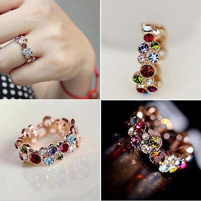 (Fashion Lovely Round Multicolor Rhinestone Ring Love Elegant Flower Mom's Gift)