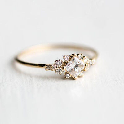 Delicate Stone - Delicate Women White Sapphire Gem Wedding Jewelry 18K Yellow Gold Filled Ring