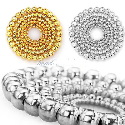- New Fashion Silver Gold Plated Round Spacer Smooth Loose Beads Charms Findings