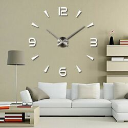DIY 3D Large Number Mirror Wall Watch Wall Clock Home Decor Modern Art Clock USA