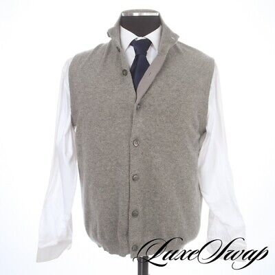 #1 MENSWEAR Brunello Cucinelli Cashmere Smoke Grey Knitted Vest Sweater Italy 54