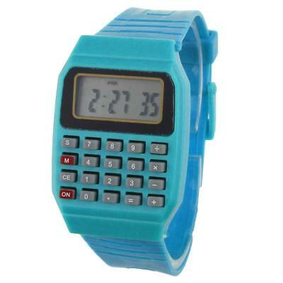 Children Wrist Watch Calculator Style Digital Display Autodata Silicone Band Kid