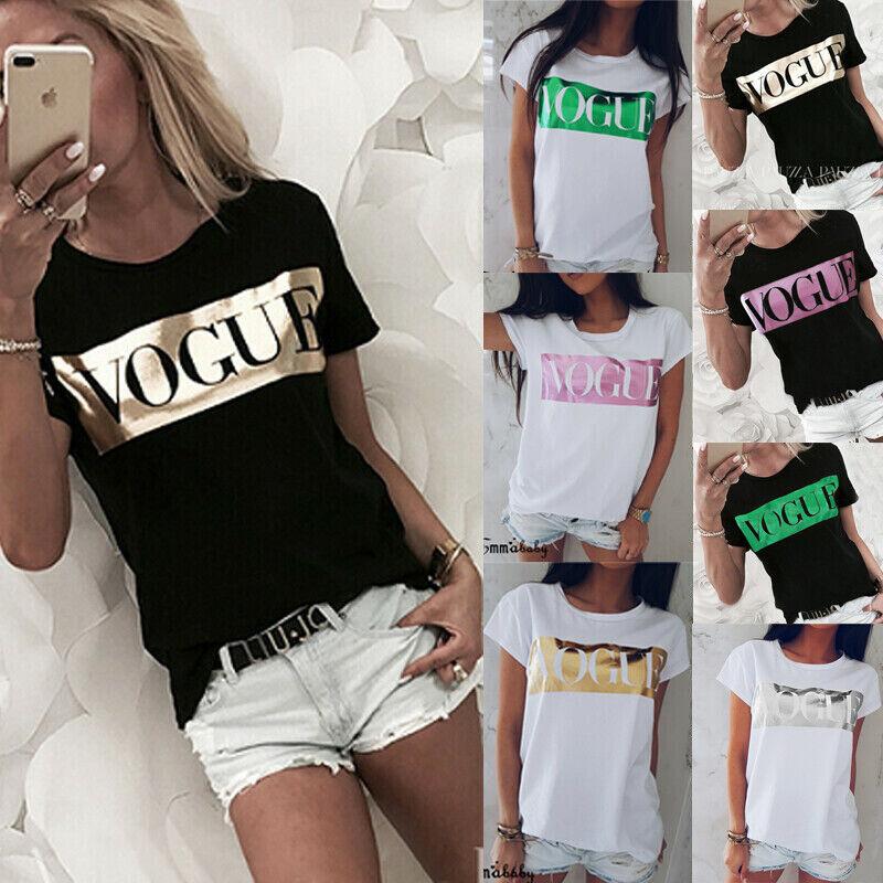 Damen Sommer Kurzarm T-Shirt Vogue Bedrucktes Freizeit Baumwolle Oberteile Tops