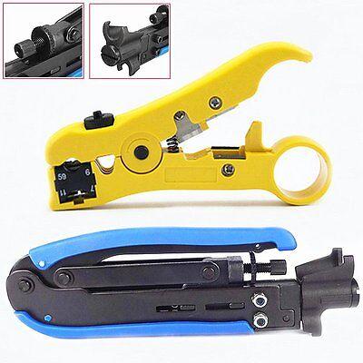 Compression Tool F RG59 RG6 RG11 Connector Cable Coax Coaxial Crimper Stripper E