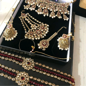 Asian bridal costume jewellery, gold plated with red stones