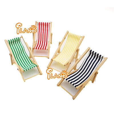 1:12Dollhouse Miniature Furniture Wood Folding Beach Lounge Chair Doll Accessory for sale  China