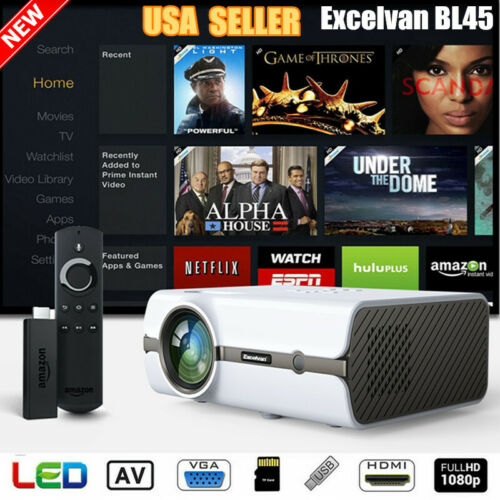 5000 Lumens 1080P HD LED Projector 3D Multimedia Video Home