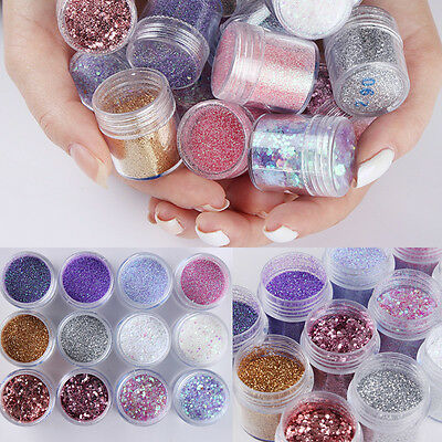 12Boxes/Set Nail Art Sequins Glitter Sheets Tips Mixed Powder Manicure DIY 10ml