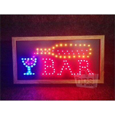 Animated Motion Led Bar Sign W Wooden Frame 10x19 Dual Mode