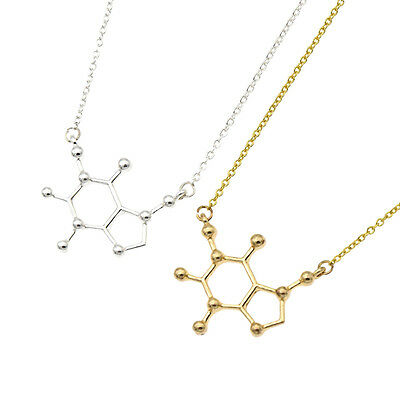 Women Happy Hormone Caffeine Molecule Happiness Signal Pendant Necklace Fashion