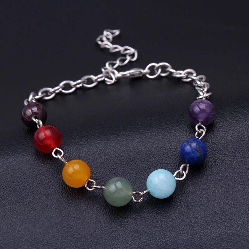 7 Chakra Crystal Quartz Stone Beads Reiki Balance Yoga Bracelet Energy B5 Charms & Charm Bracelets