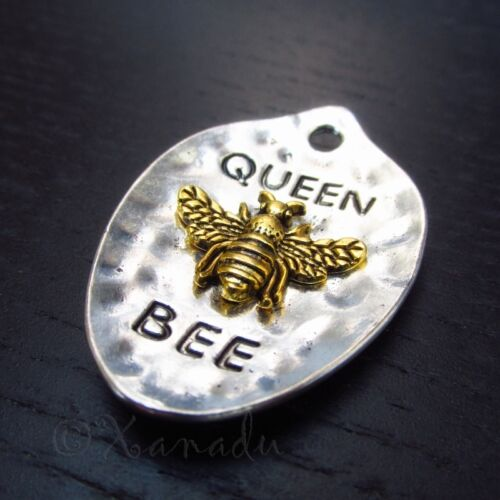 Queen Bee 43mm Antiqued Gold And Silver Plated Pendants C3996 - 2, 5 Or 10PCs