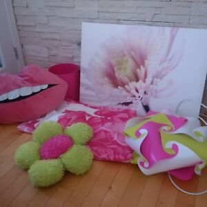 Pink and lime room decor set