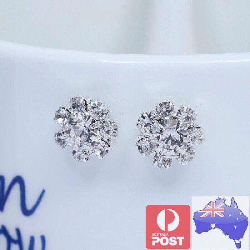 Jewellery - 2 Magnetic Crystal Round Earrings Ear Stud Non Piercing Women Men Kids Jewellery