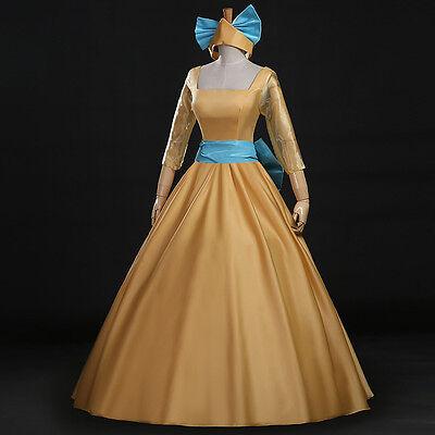 Anastasia Disney Amine Film Cosplay Kostüm Abend-kleid lang long Dress (Disney Satin Kostüm)