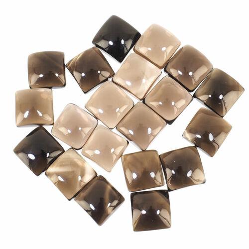 20 Pcs Natural Smokey Quartz 12mm Square Cabochon Top Quality Loose Gemstones