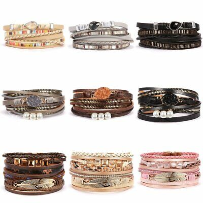Multilayer Leather Bracelet Pearl Crystal Woven Wrap Bangle briaded Jewelry Set (Crystal Pearl Wrap Bracelet)