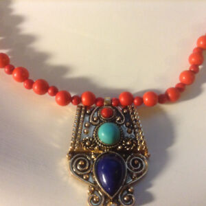 Vintage Necklace Natural Tibet Coral Gypsy Stone