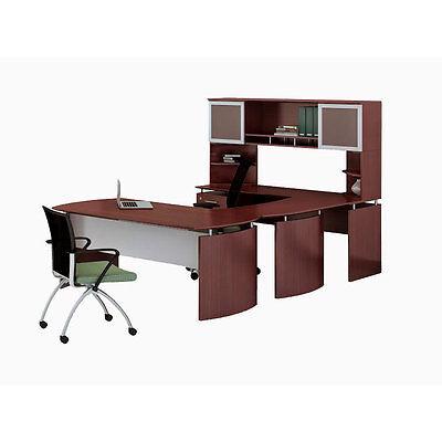 Laminate Executive 63 Desk U-shaped Package Left Mahogany Finish