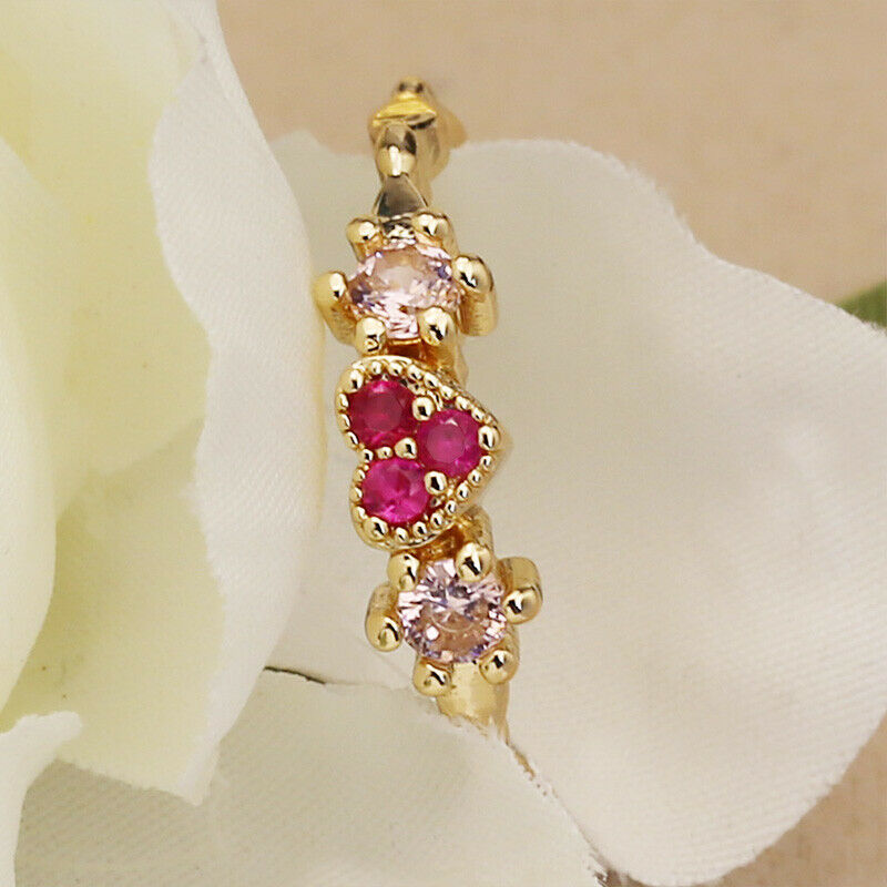 Romantic 18k Yellow Gold Plated Rings for Women Jewelry Ruby