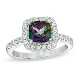 Mystic Fire Topaz Silver Ring (size 7us/56uk)